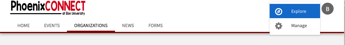 Image of Organizations tab.