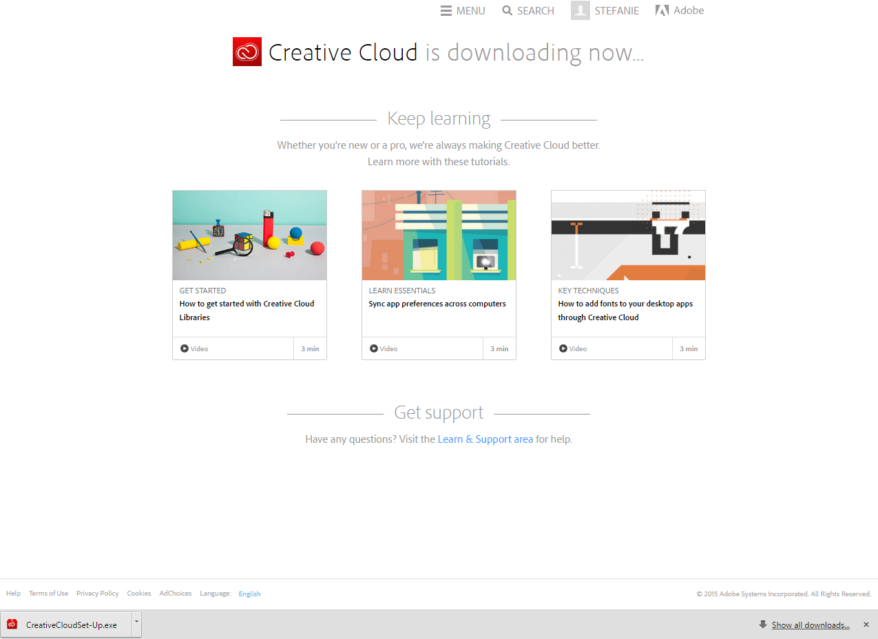 An image of the notification window that Creative Cloud is downloading.