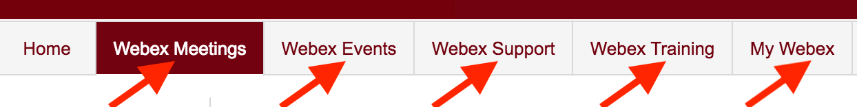"Click the ""Center"" you want to choose to host your meeting (for this walkthrough, Webex Meetings is chosen)"