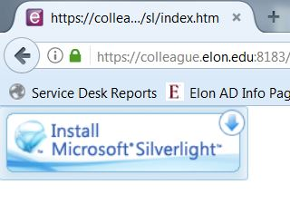 Example of the Silverlight error in Firefox