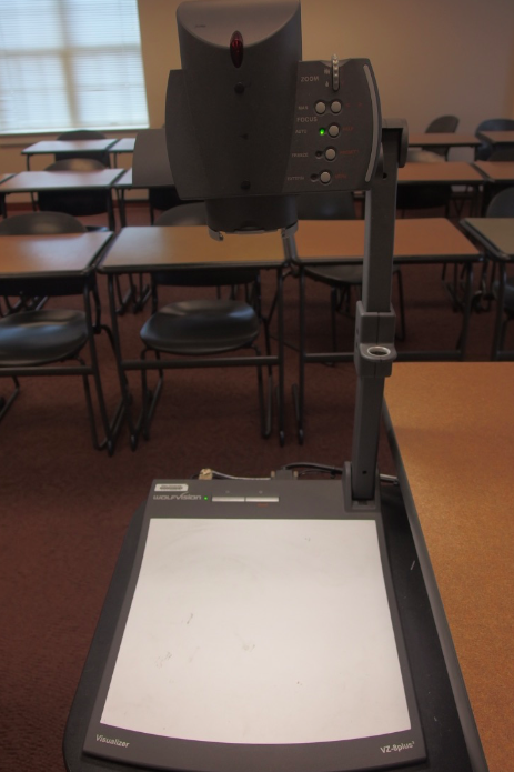 Photo of the document camera located at the instructor's staton