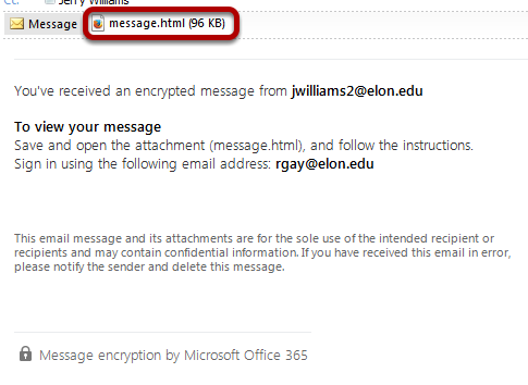 An internal to Elon encrypted message, with the attachment circled.