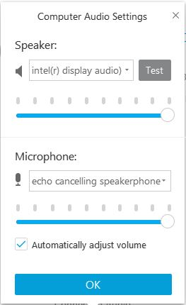 A photo of webex showing computer audio settings