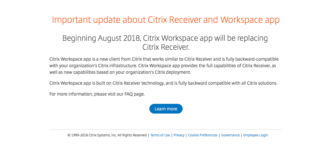 This image is an update about the citrix receiver