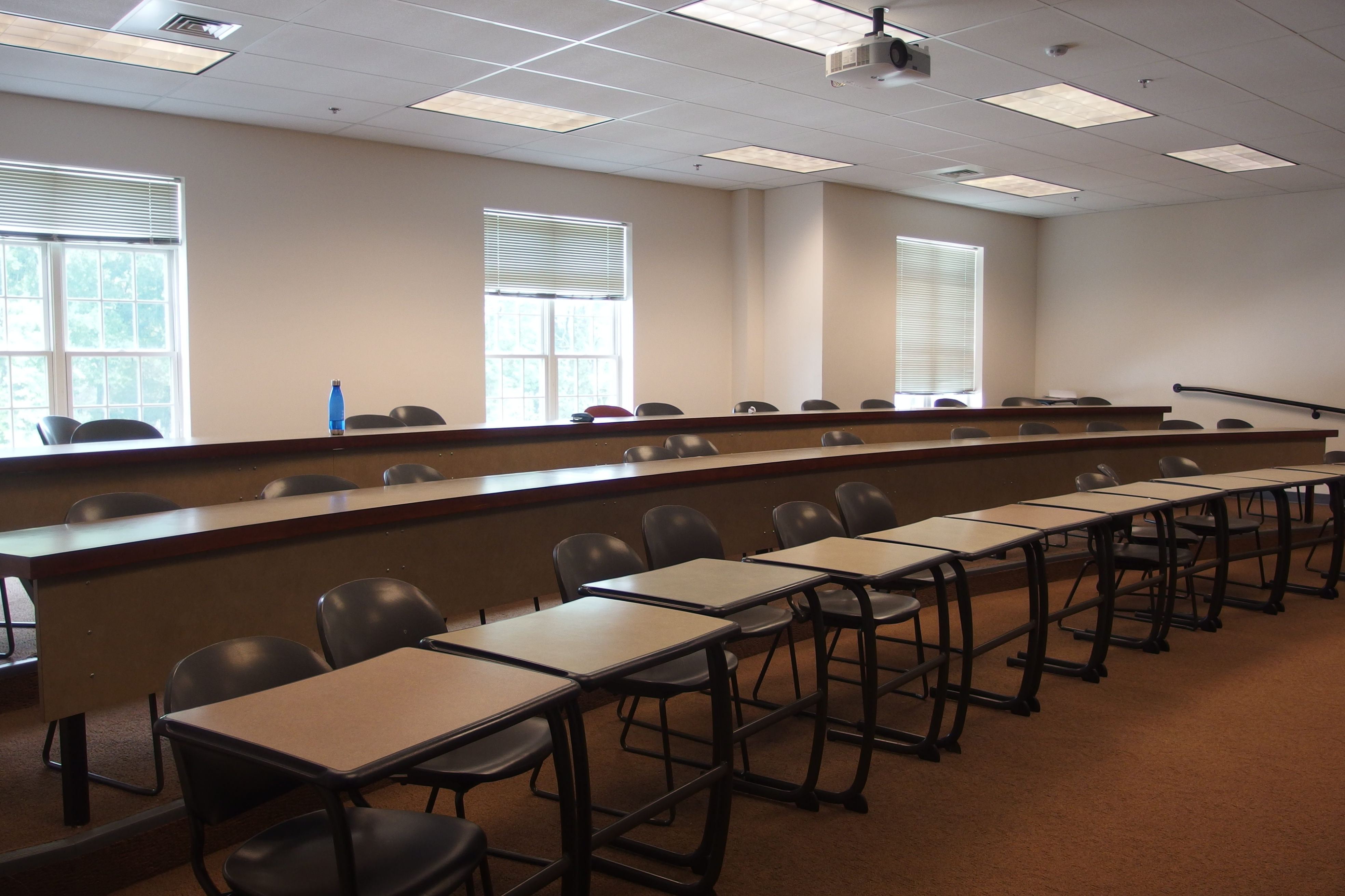Photo of the classroom showing tiered seating taken from the front corner of the room