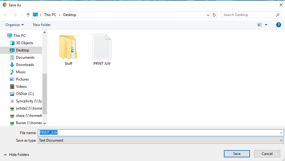 An example image of where you can save the file.