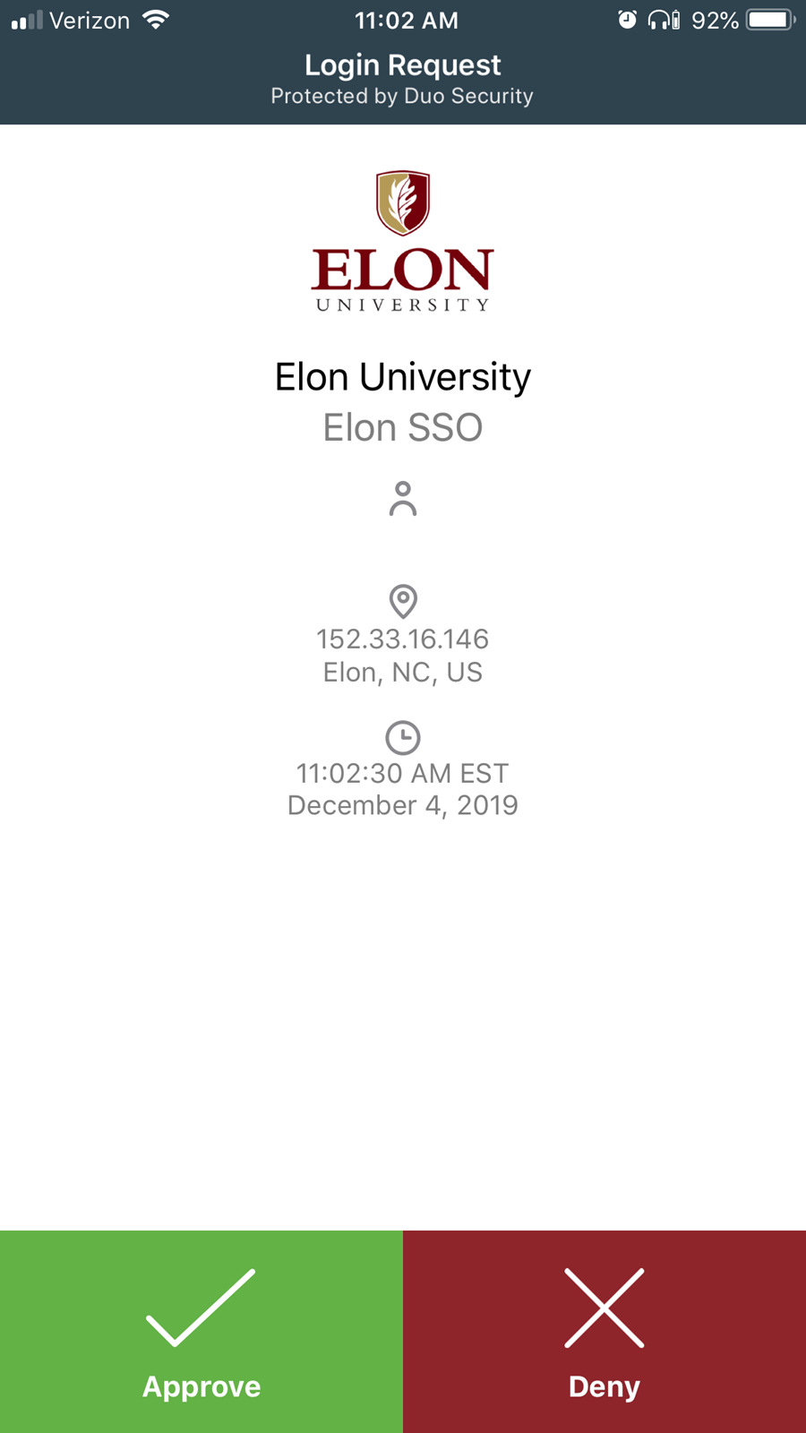 Screenshot from Elon's DUO Mobile App