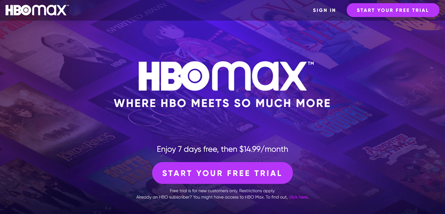 Screenshot of the HBO Max home screen for students with Philo Edu access