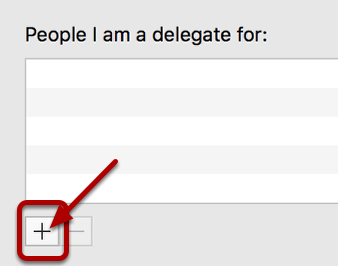 An image of the delegate screen, with an arrow pointing to the circled plus mark.