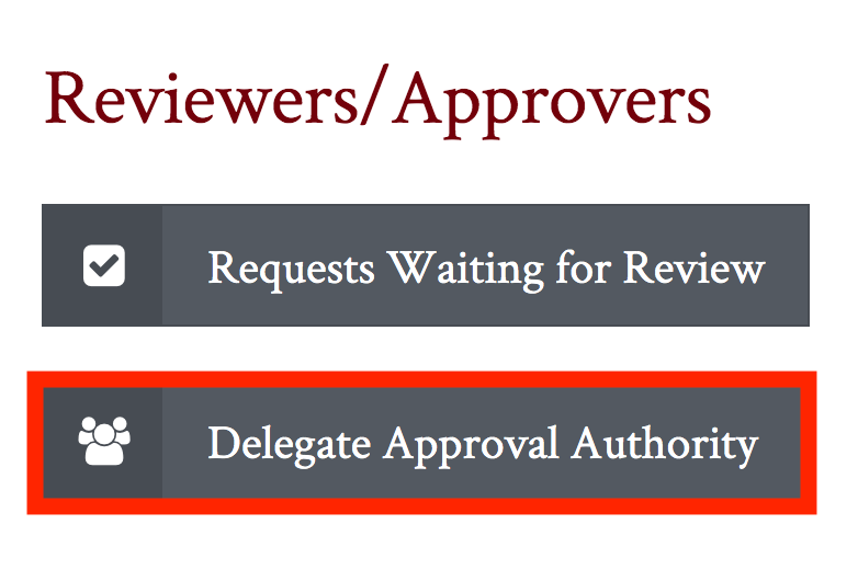 Delegate Approval Authority button highlighted