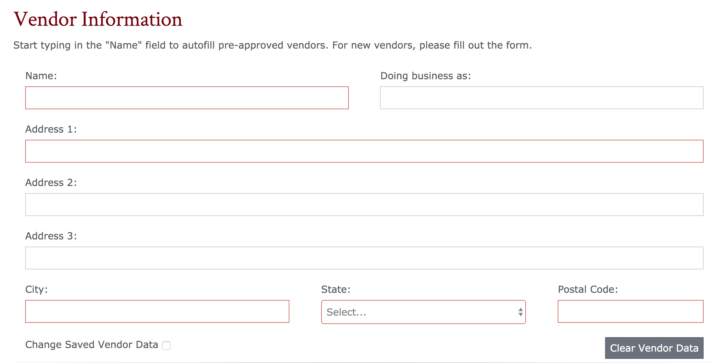 vendor information section of the purchase request form