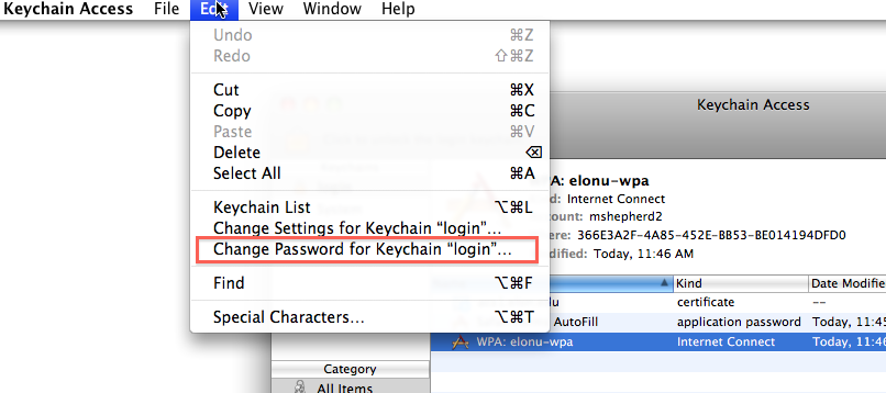Click 'Edit,' then 'Change Password for Keychain. Enter the old password, the new password twice then click OK