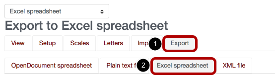 An image of the export screen with Export circled and labeled 1; and excel spreadsheet circled and labeled 2.