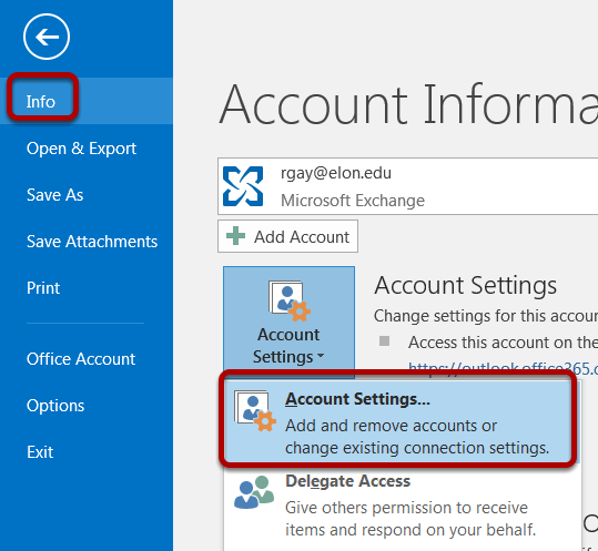 An image of the account settings location, with info and account settings both circled.