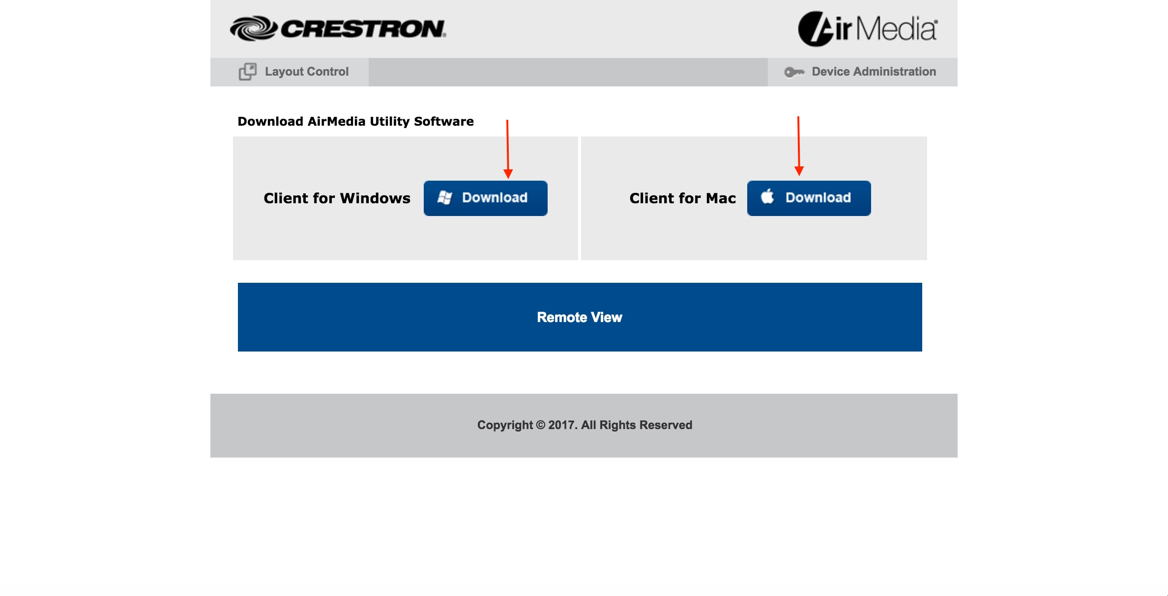 Photo of crestron home page for AirMedia software download