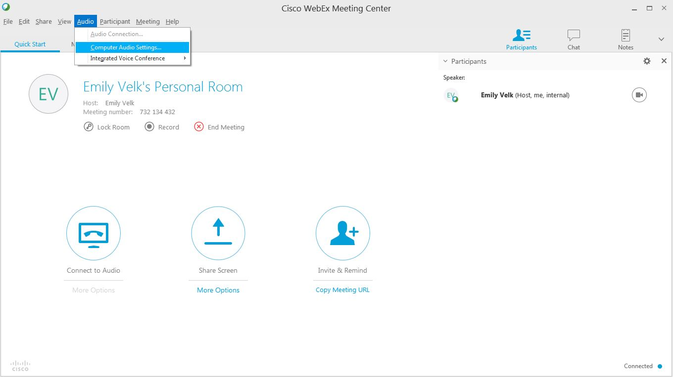 A photo from webex showing audio settings