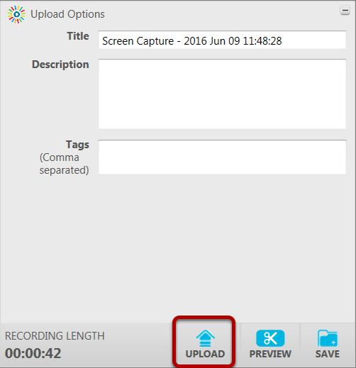 An image of the upload options screen, with upload circled.