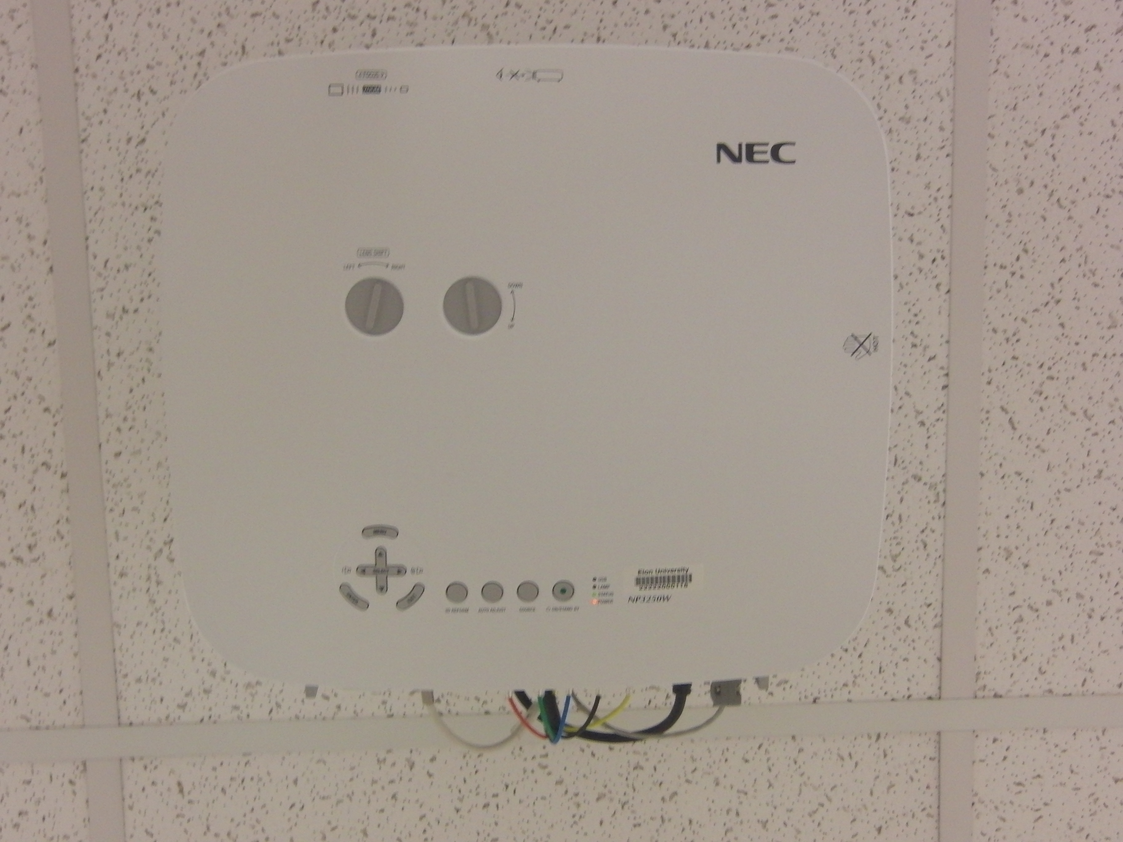 Photo of the ceiling mounted projector