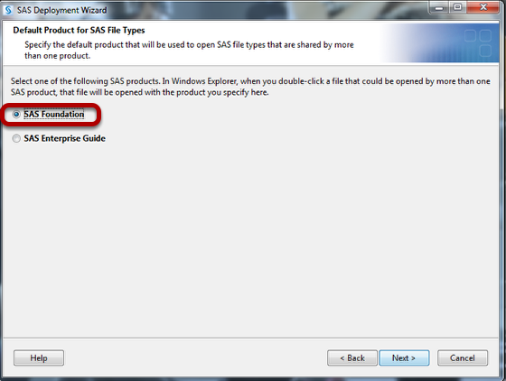 This is the default product file types screen where you should select SAS Foundation (circled) and then click next.