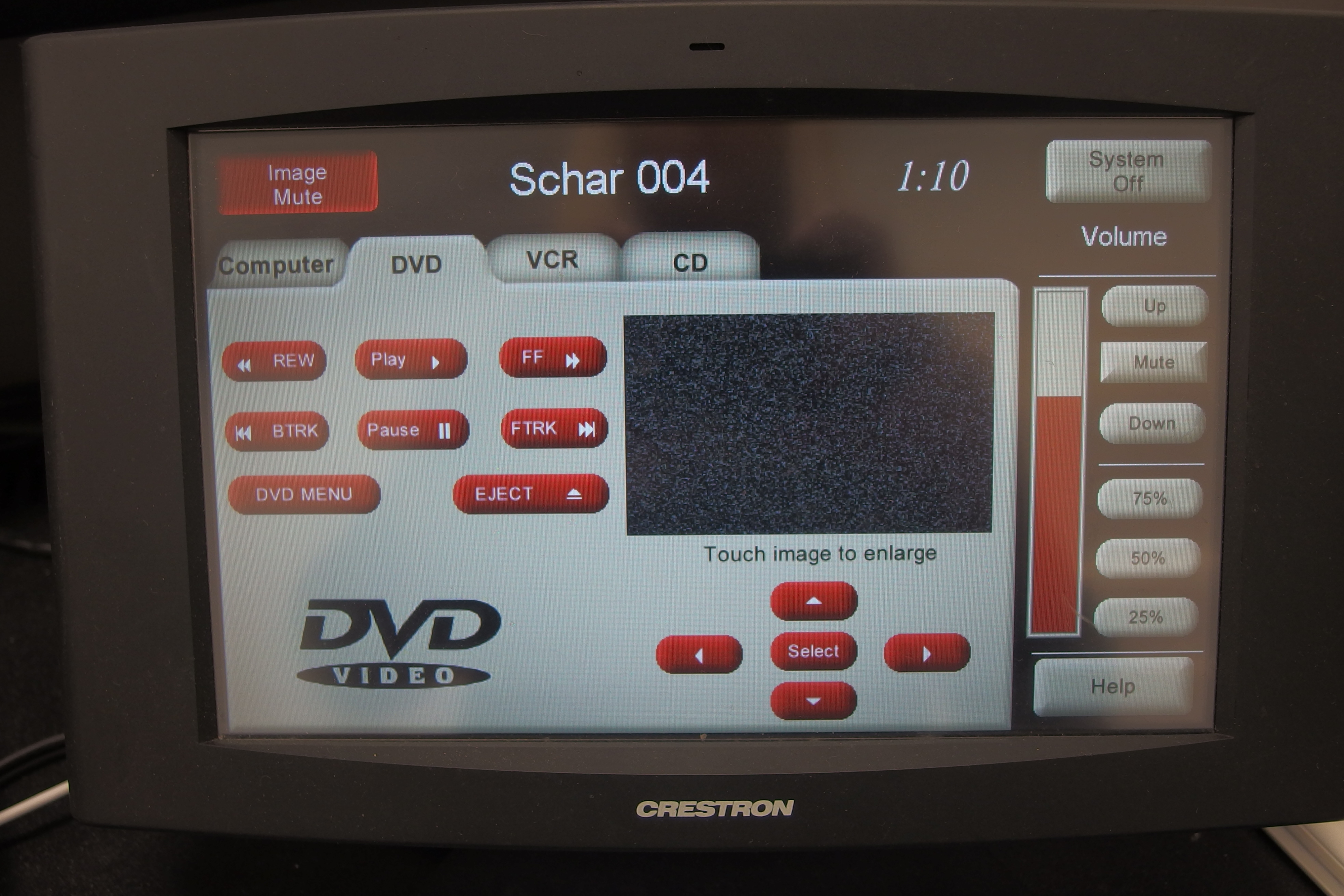 A photo of the touch panel DVD page