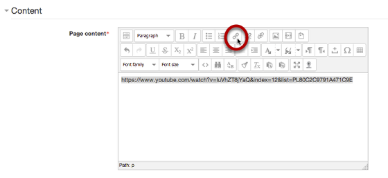 An image showing the location of the link button, circled.