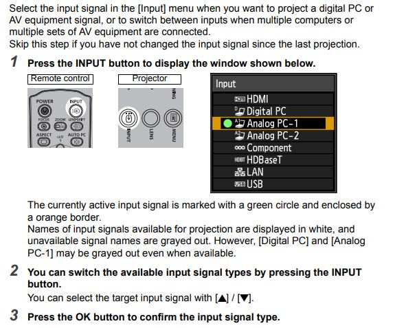 A photo of instructions for selecting an input signal.