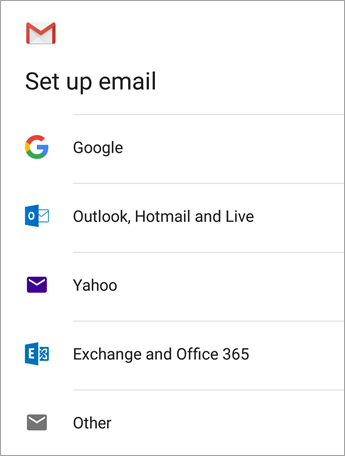 This is the setup screen for email on an Android where you select Exchange and Office 365.