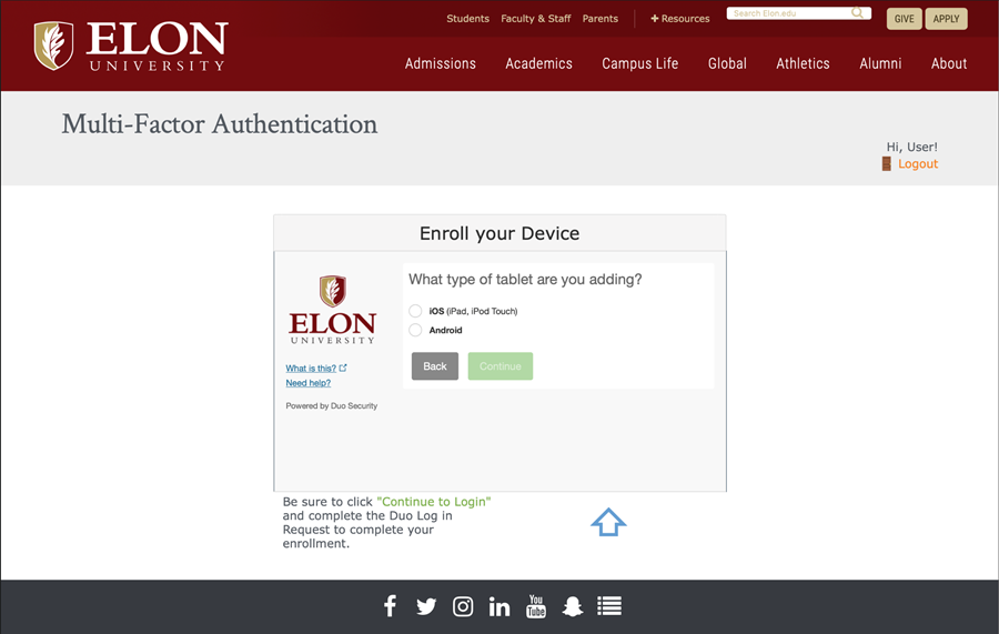 Screenshot from Elon's DUO Self-Service Enrollment Website