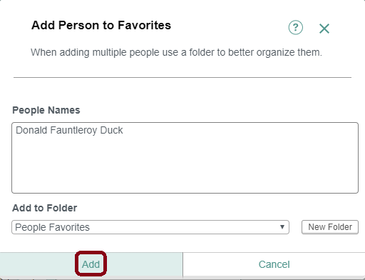 An example of the form to fill out when adding a person to your favorites list. The add link is circled.