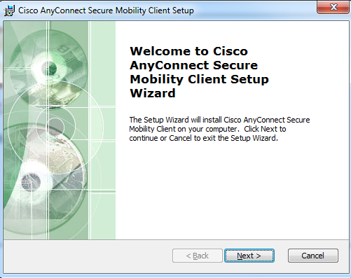 This is the first image of the AnyConnect setup wizard
