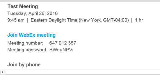 Click 'Join WebEx meeting' from the email invitation