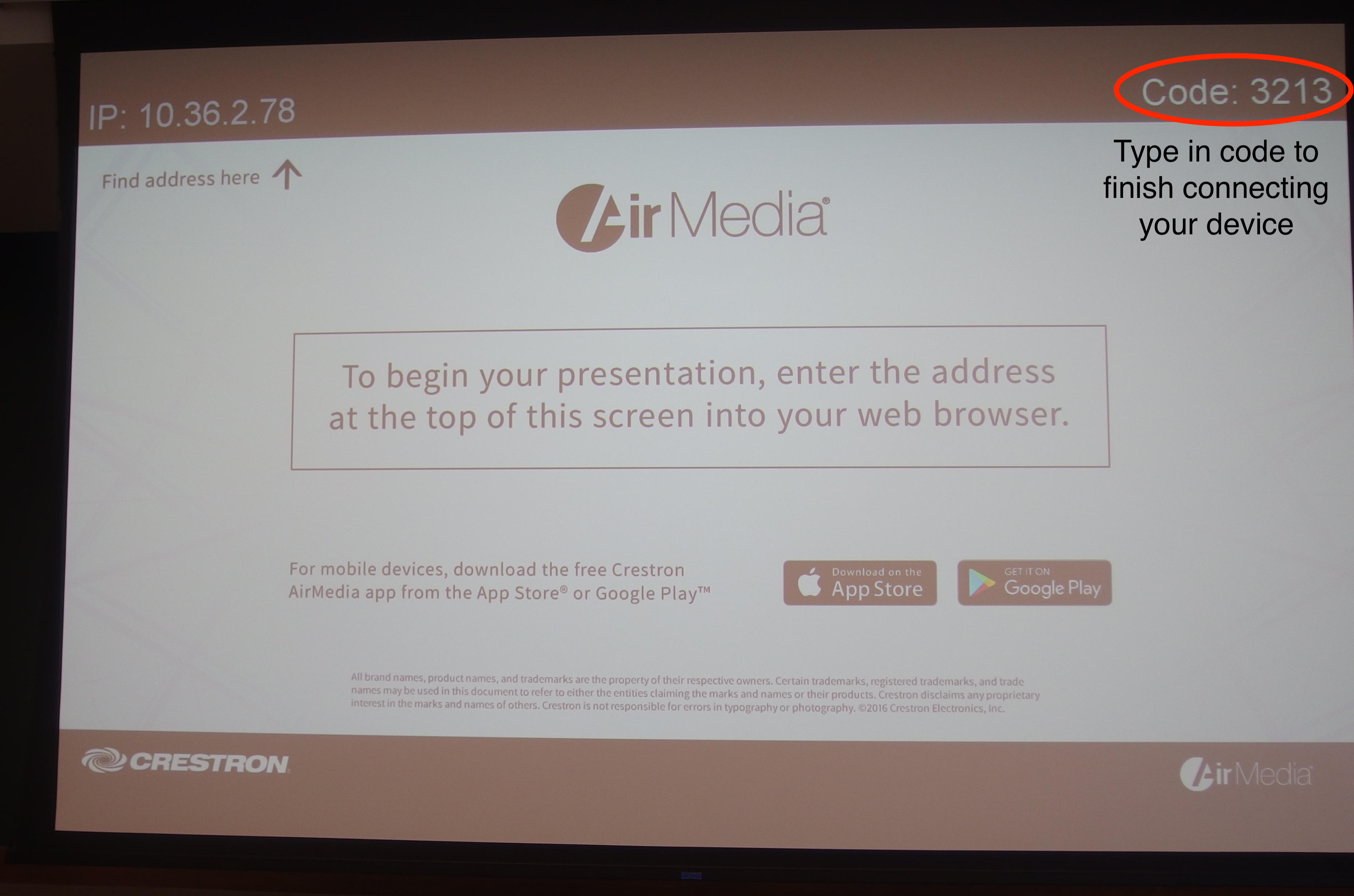 Picture of AirMedia code shown on projector.
