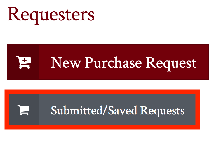 submitted and saved requests button highlighted