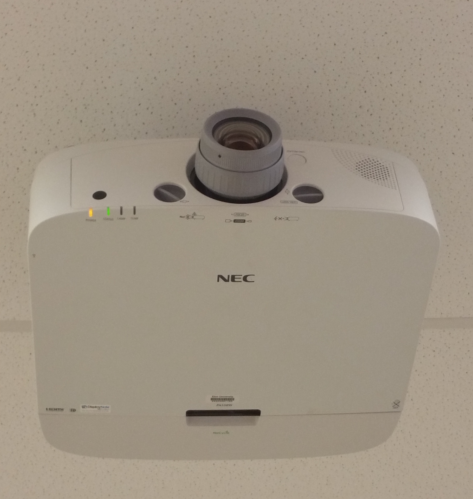 Photo of ceiling mounted NEC projector